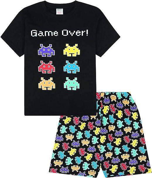 Boys Game Over Gaming Black Cotton Short Pyjamas