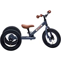 Trybike Steel Grey 2 in 1 Convertible Balance Bike and Tricycle for 18 Months to 6 Years Boys and Girls, Pneumatic Tyres