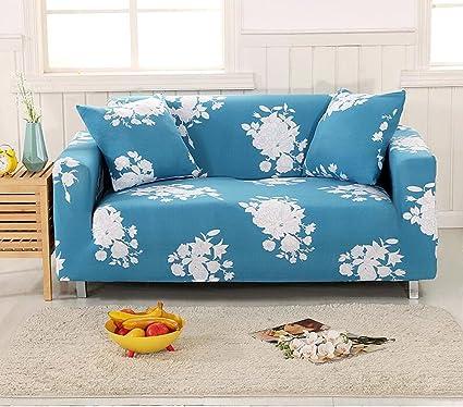 Amazon.com: YJBear 1 PC Form Fit Blue Sofa Covers Polyester Spandex ...