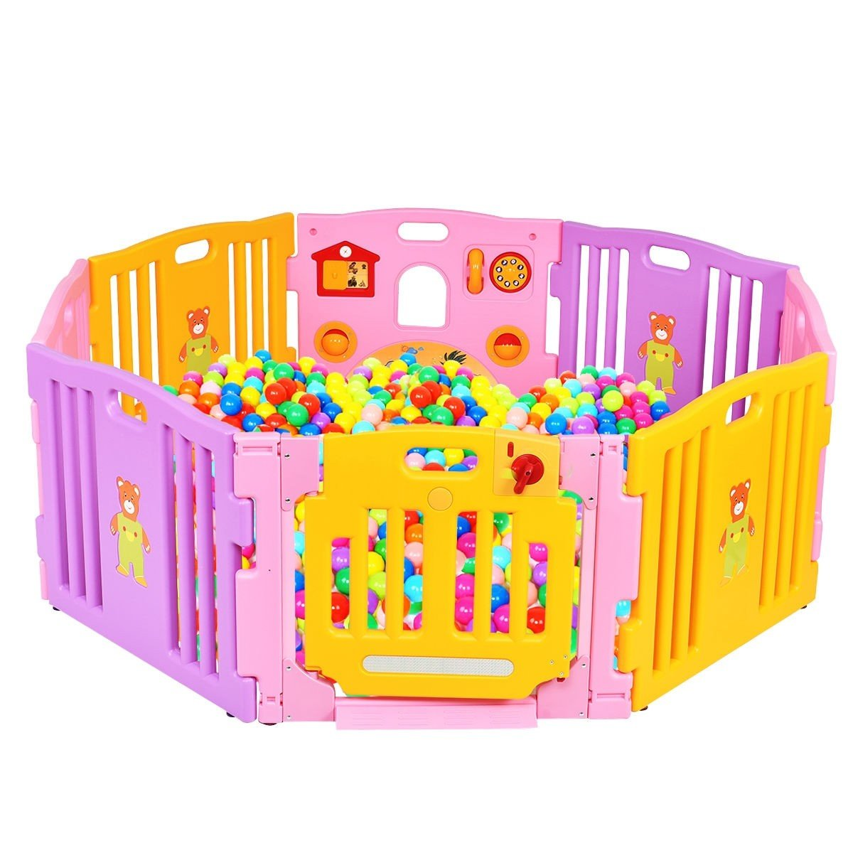 Pink 8 Panel Baby Playpen Kids Safety Play Center Center Yard Pink Indoor CHOOSEandBUY