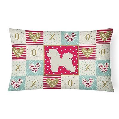 Caroline's Treasures CK5911PW1216 Bichon Frise Love Canvas Fabric Decorative Pillow, 12H x16W, Multicolor : Garden & Outdoor