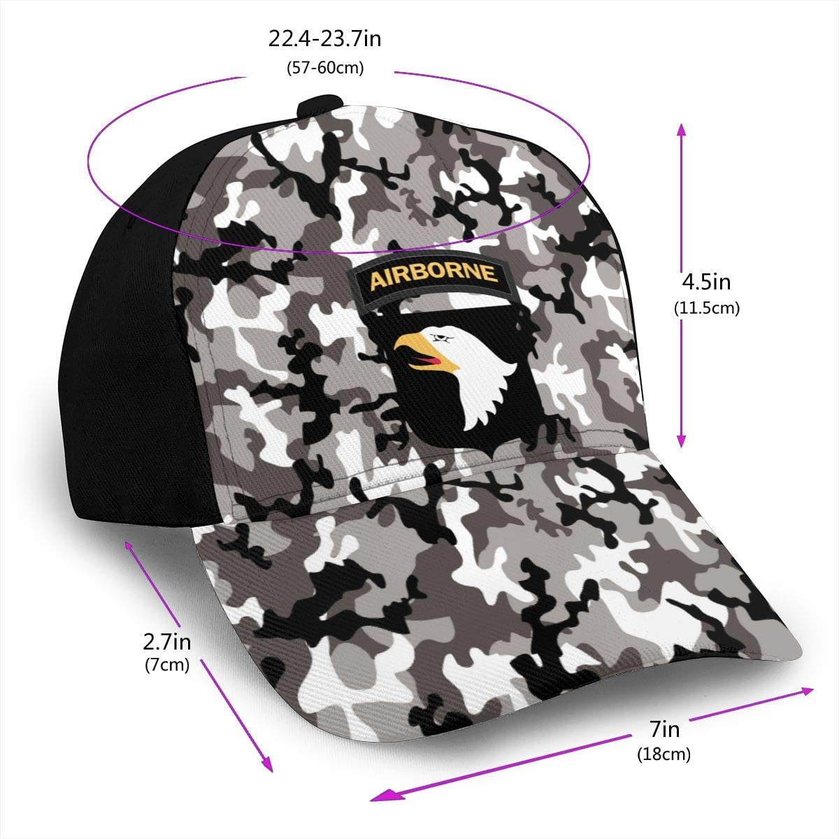 Army 101st Airborne Division Classic Adult Caps Printing Duck Tongue Baseball Hat Snapback Unisex Cap Adjustable