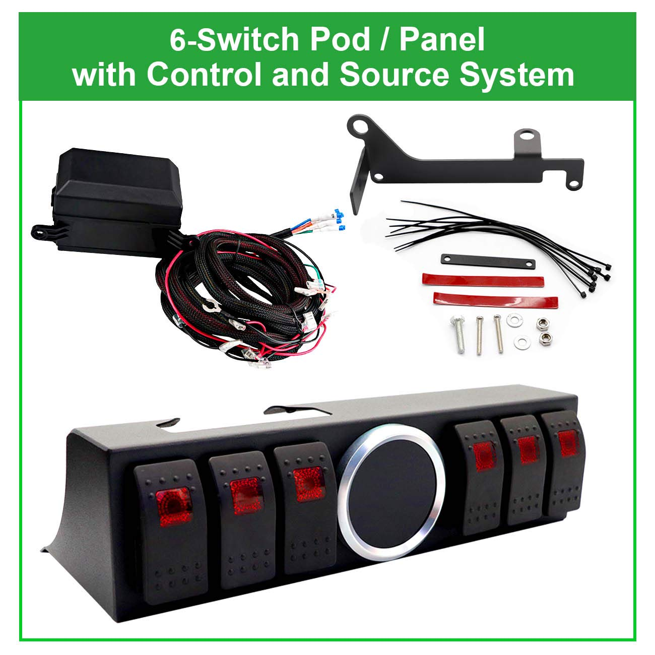 WATERWICH 6-Switch Pod Toggle Switch Panel Overhead and Source Control System Box Wiring Harness Kit with 12 Switch Covers /& a Switch Clip Remover for Jeep Wrangle Red