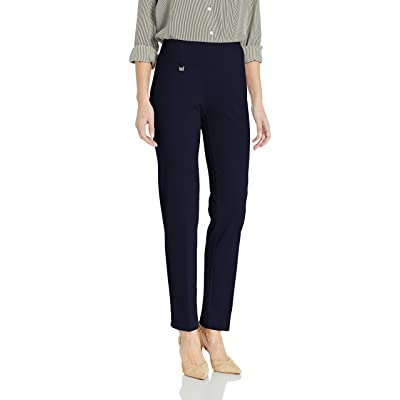 SLIM-SATION Women's Pull on Solid Knit Easy Fit Narrow Leg Pant with Tummy Panel at Women's Clothing store