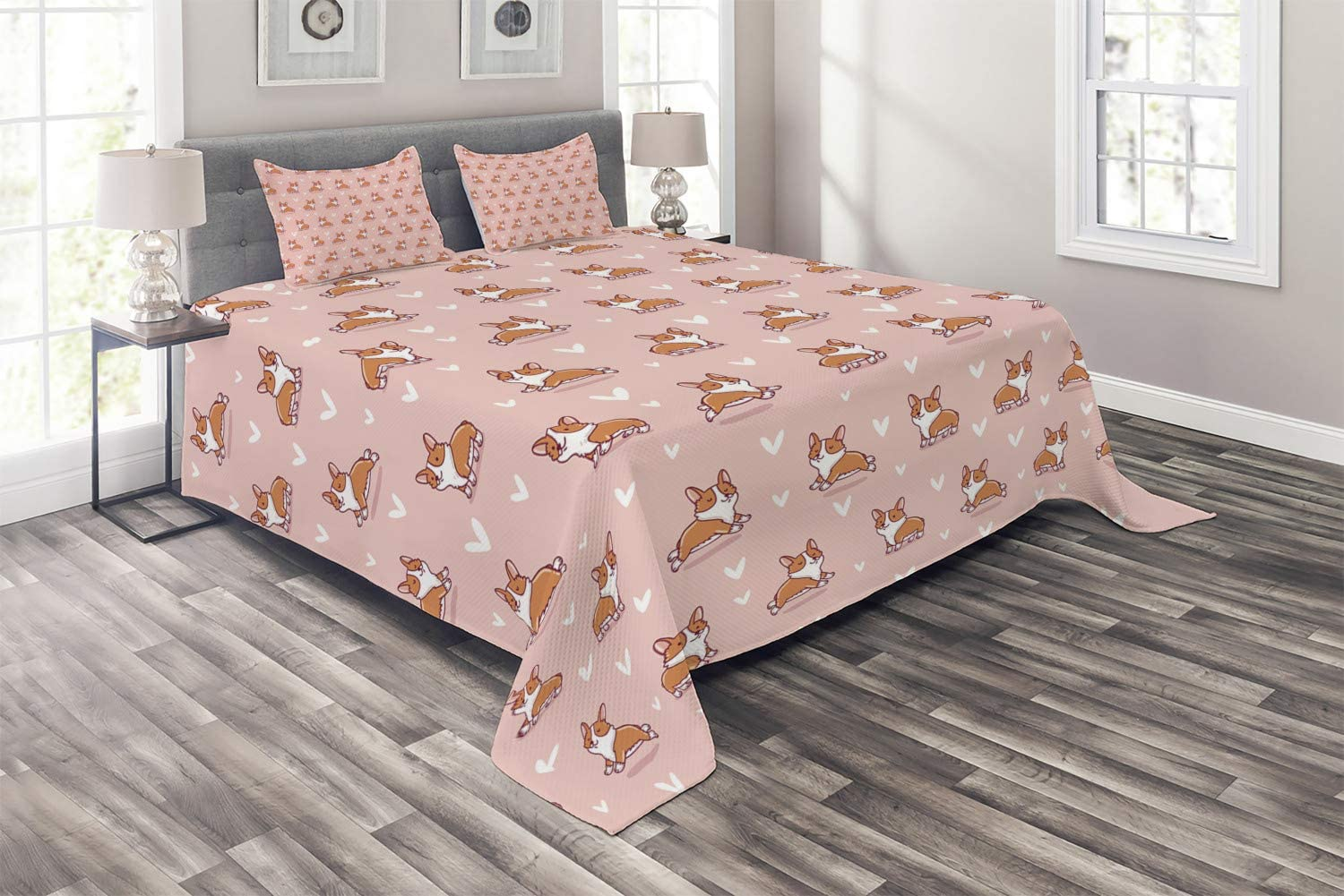 Ambesonne Dog Lover Coverlet, Little Corgi Jumping Running and Standing Cartoon Hearts Background, 3 Piece Decorative Quilted Bedspread Set with 2 Pillow Shams, Queen Size, Orange White
