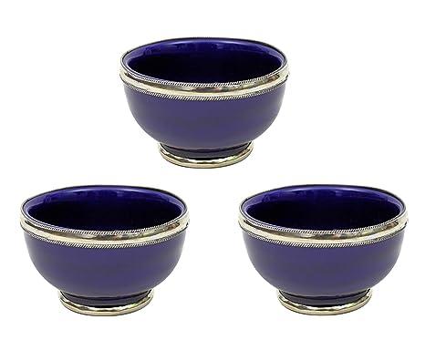 Cuencos de cerámica marroquí con borde plateado 8 cm hecho a mano en Marruecos Juego de