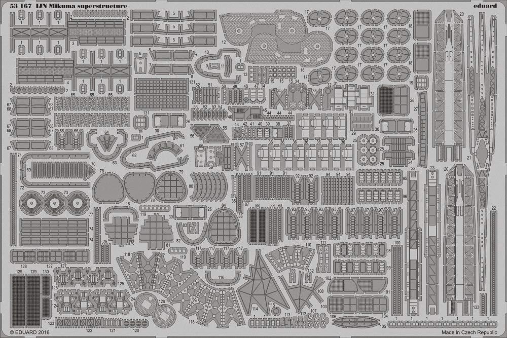エデュアルド 1/350 日本 海軍 三隈 上部建造物 各種 タミヤ用 エッチングパーツ EDU53167 B01EZ5K3S4