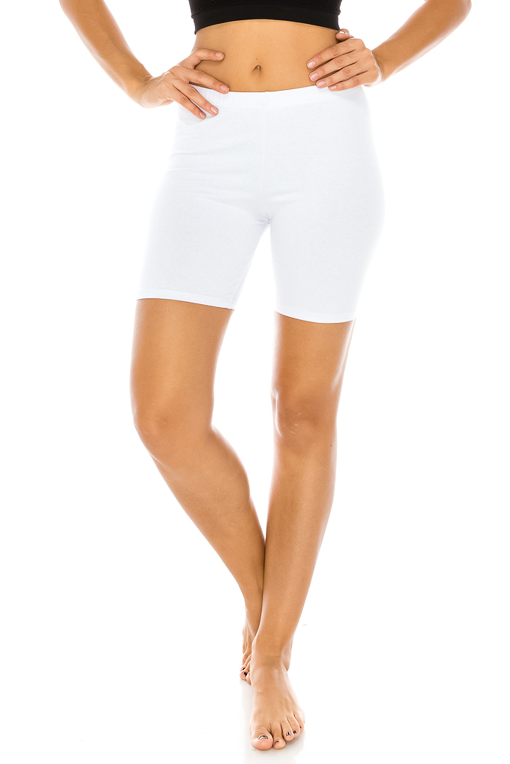 The Classic Women's Stretch Cotton Jersey Bike Shorts in White - Large