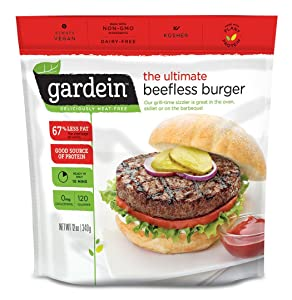 Gardein Ultimate Beefless Burger Meat Free Protein Packed Patties, Ready in 3 Minutes, 4 Pack (Frozen)