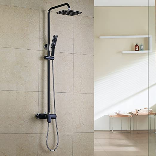 Homelody Negro Columna de ducha Conjunto de Ducha con Barra Ducha ...