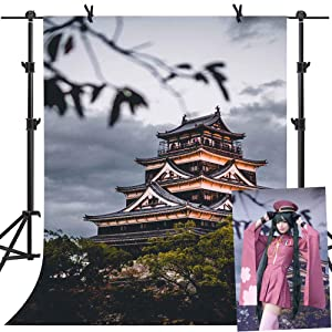 MME 5x7Ft Temple Backdrop Landmark Japanese Chinese Style Building Traditional Architecture Forest Background Vinyl Studio Props Photo LUME094