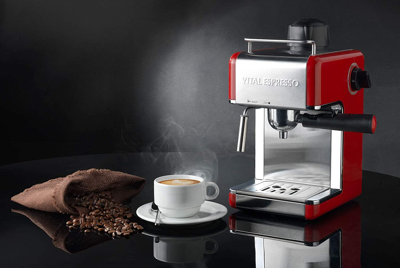 Cafetera Italiana Espresso de 4 Tazas con emulsionador de leche, Vital Espresso