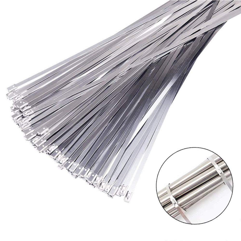 Stainless Steel Self Locking Ties Exhaust Pipe Strap Wrap Coated Cable Zip Ties Heavy Duty 13.8 Inch (50pcs)