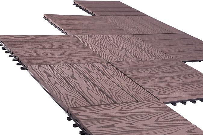 Laneetal Dalle De Terrasse 1 Piece 30x30cm Pour Recouvrir Sol De 0 09m Revetement Exterieur Jardin Wpc Cafe Amazon Fr Cuisine Maison
