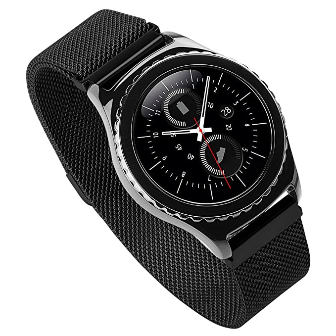 Hoco S2 Watch Band Milanese Loop Pinhen Samsung Gear S2 Classic Sm-r732 Magnet Replacement Watch Band for Samsung S2 R732 (HOCO Milanese Black)