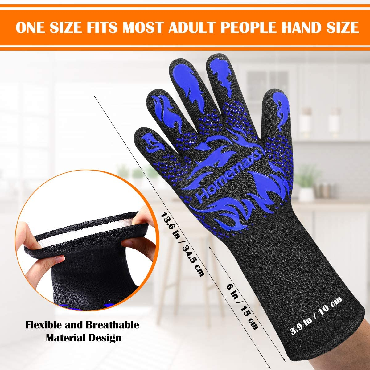 BBQ Gloves, Extreme Heat Resistant Grill Gloves, Ultra-Long Wrist Grill Gloves Food Grade Oven Gloves for Barbecue, Cooking (Blue)