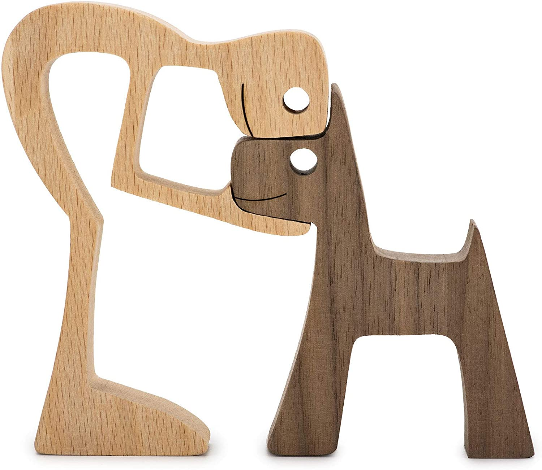 Accent Decor Men and Dog Figura Decorativa Wooden Gift Home Accents