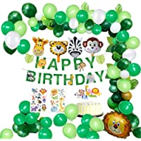MMTX Jungle Birthday Party Decoration Boys-Happy Birthday Banner with Palm Leaves Latex Balloons and Safari Forest Animal for Boy Birthday Baby Shower Hawaiian Decor