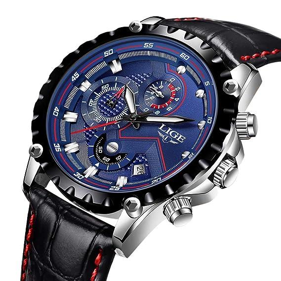 LIGE Relojes Hombres Moda Reloj de Cuero Impermeable 30M Deportes Reloj de Cuarzo Analógico Fecha Negocios Reloj de Pulsera Azul Hombres: Amazon.es: Relojes
