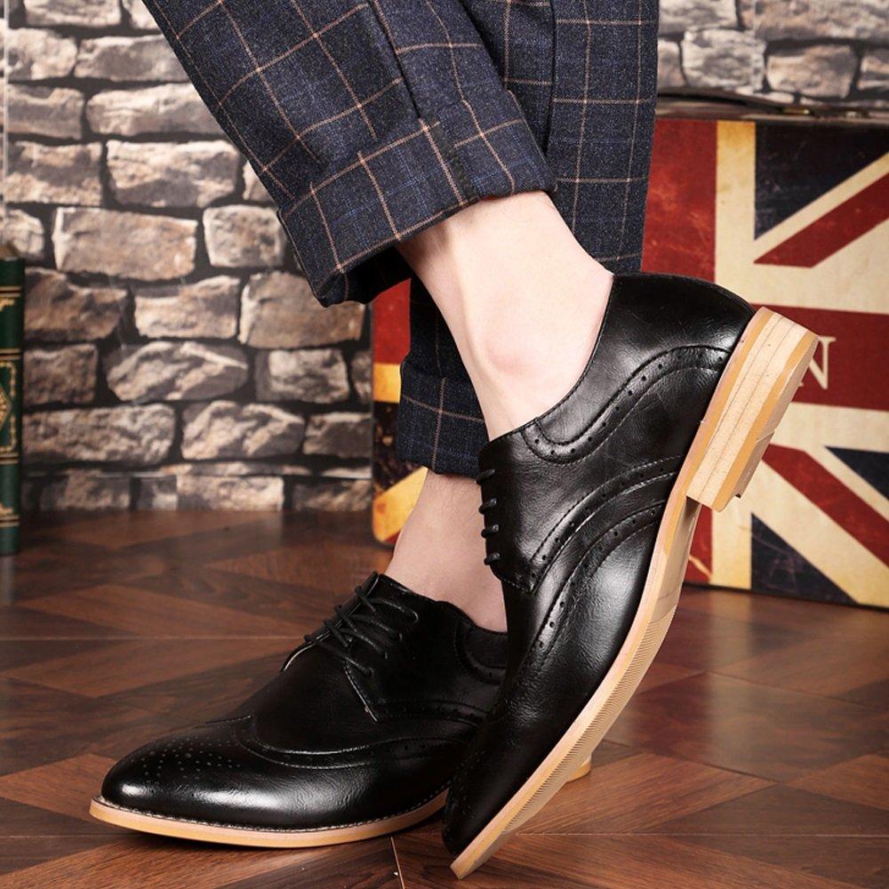 SHANGWU 2018 Verano Nuevo Estilo Bullock Tallado Zapatos de Hombre de Negocios de Estilo Británico Acentuados Alta Ocio Zapatos Hombres XIAOQI (Color : Negro, Tamaño : 43) 43 Negro