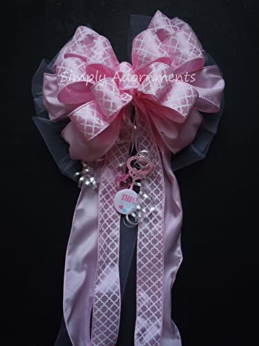 Itu0027s A Girl Pink Bow Girl Baby Shower Decoration Pink Gift Basket Bow  Newborn Baby Girl