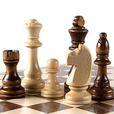 """AMEROUS Chess Pieces Only, Wooden Hand Carved Tournament Chessmen with 4.12"""" Inches King, 2 Storage Bags for Chess Board Game, Replacement of Missing Pieces: Toys & Games"""