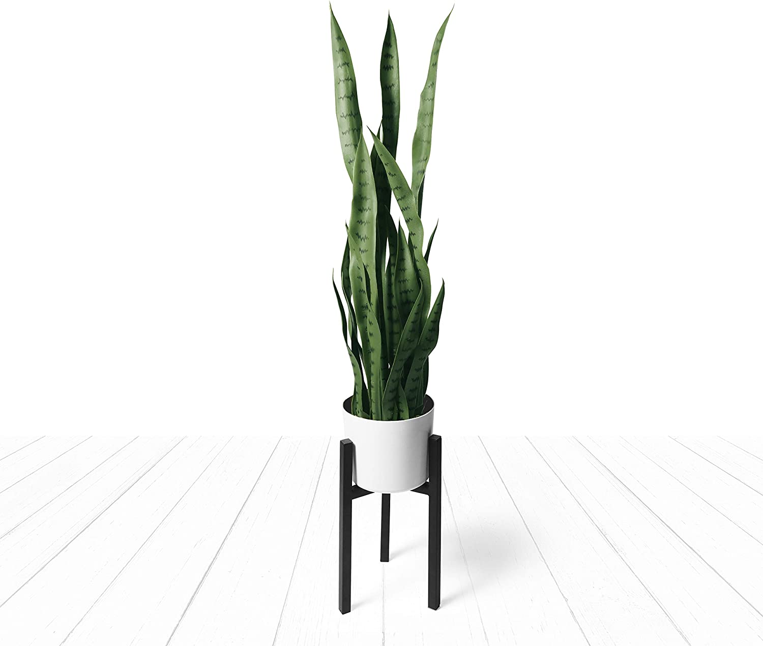 Artificial Snake Plant Fake Sansevieria Plants 38 Inch Tall 28 Faux Green Large Leaves with White Pot and Black Stand for Home Indoor Outdoor Décor Modern House Office Floor Decoration