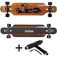 FunTomia Longboard aus Bambus und Fiberglas in 3 Flexstufen - Drop Through Komplettboard mit Mach1 ABEC-11 High Speed Kugellager + T-Tool