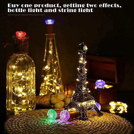 Botella de luz LED 10 Piezas con Cubierta de La Lámpara de Color, ACCEWIT 1,5 metros 16 LEDs Cadena de Luces Decoración de Botella Decoración de Luces para ...