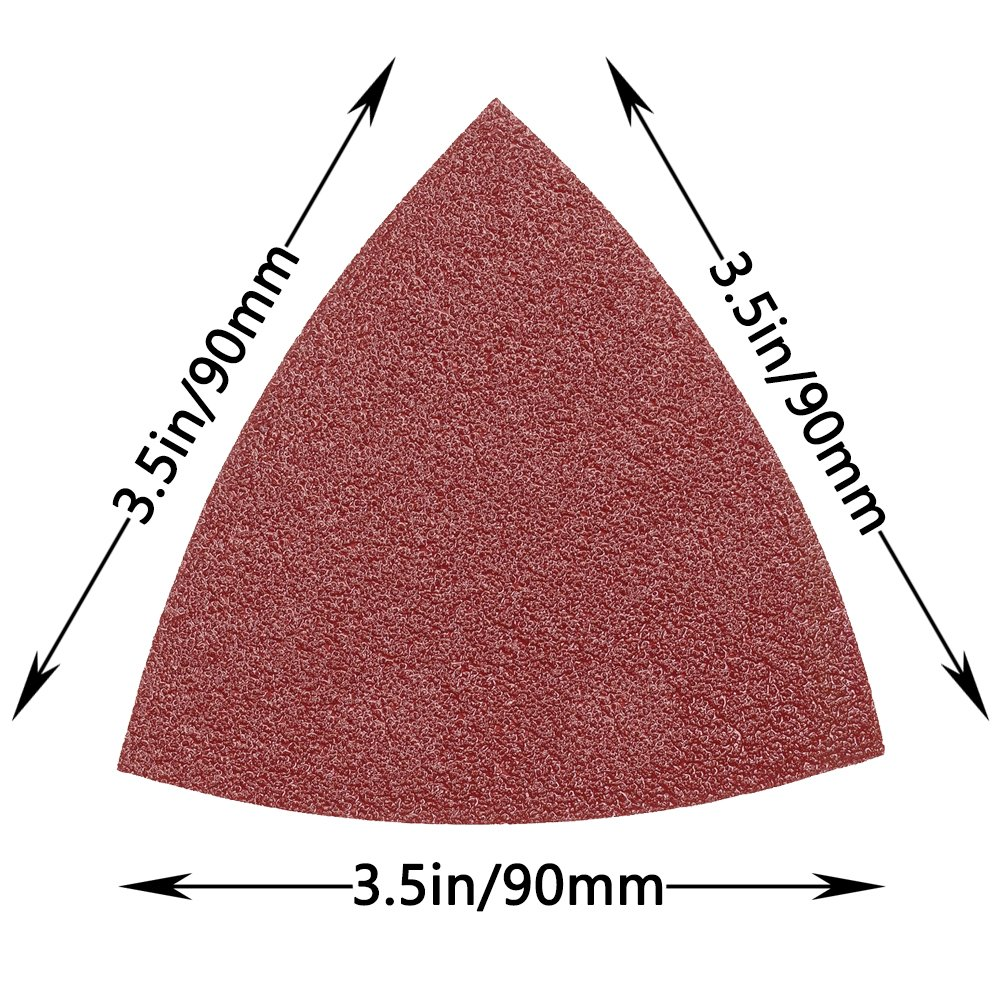GeBot 100PCS 90X90mm 3.5 Inch 6 Holes Triangle Sanding Pads Detail Sander Sandpaper Sanding Paper Dustless Hook and Loop Assorted 40//60//80//120//180//240//400//600//800//1000 Grits