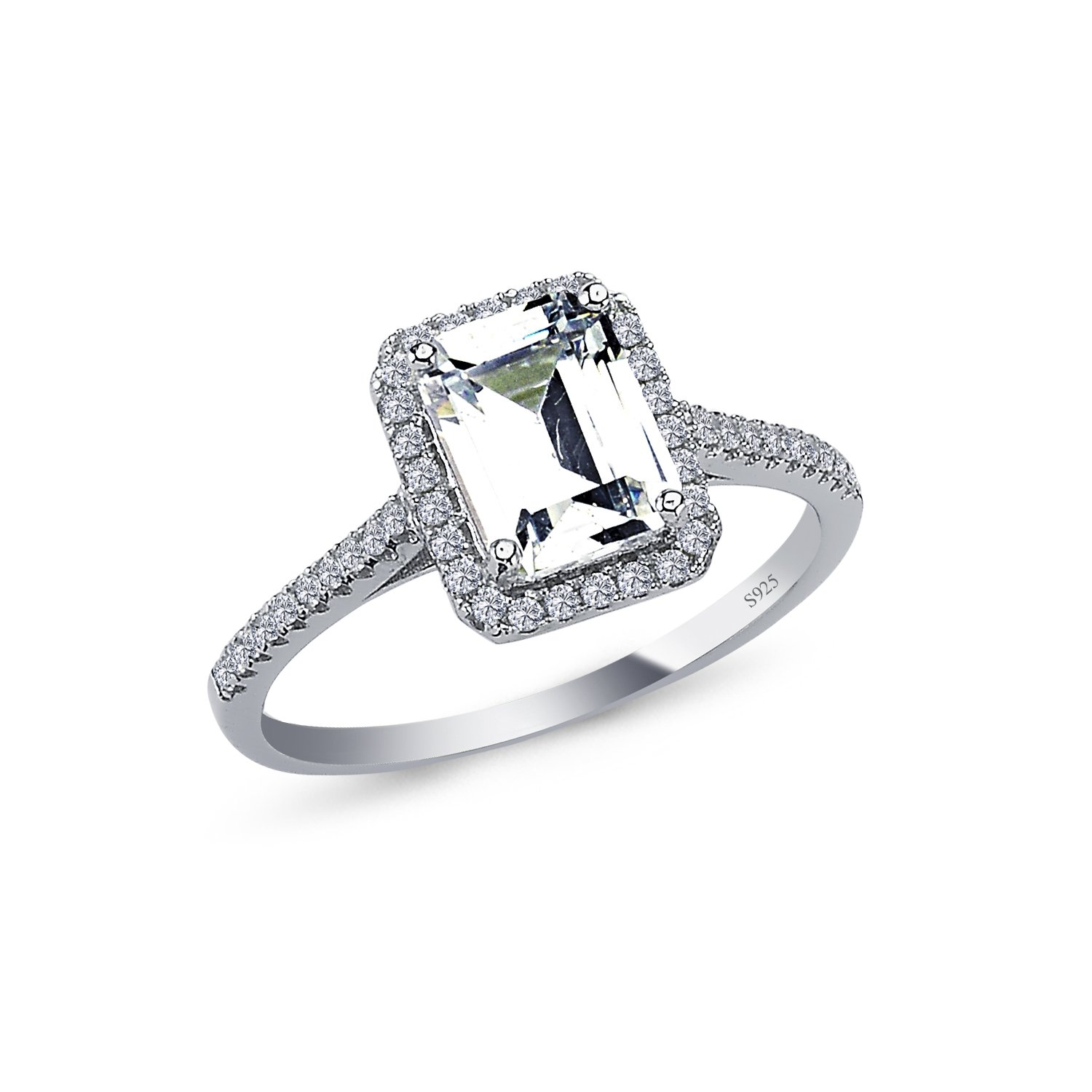 925 Solid Sterling Silver 10MM Cushion Halo AAAAA+ Gem Grade Quality EMERALD Cut Total 1.75 CARAT Bridal Sets Anniversary Promise Engagement Wedding CZ Ring Comfort Fit and Rhodium Plated
