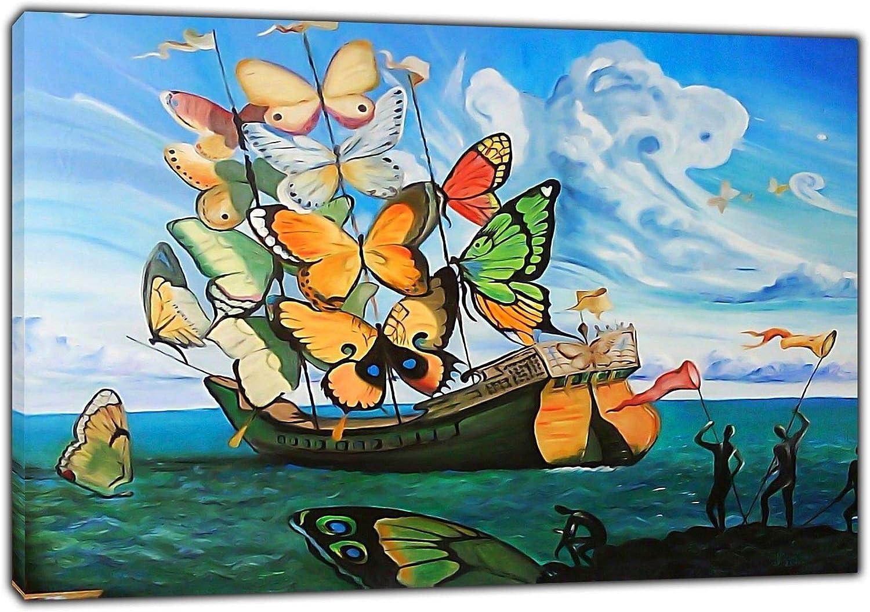 Arte de la lona Impresión Barco Mariposa Pintura al óleo Salvador Dali Lienzo Arte de la pared Imagen Decoración del hogar Lienzo Pintura 40x60cm (15.7x23.6 pulgadas) Con marco