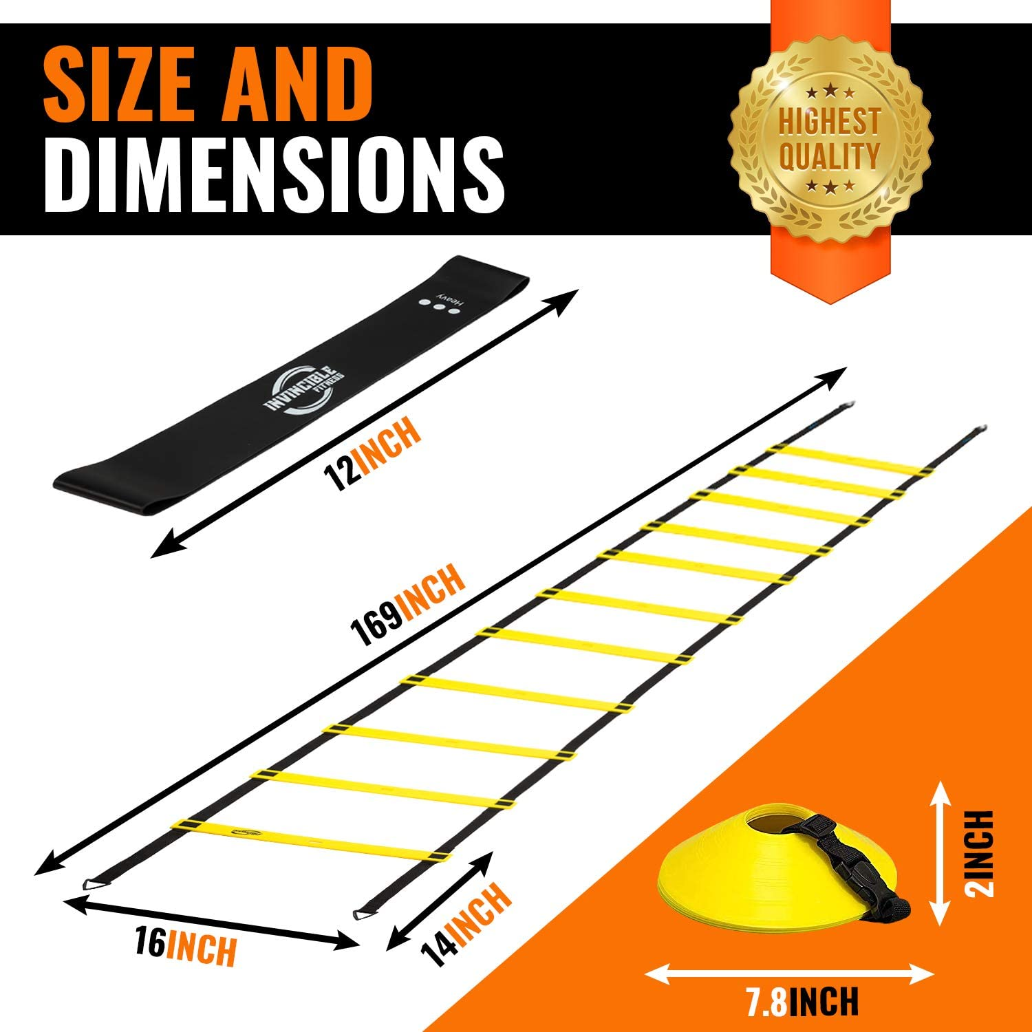 Invincible Fitness Agility Ladder Training Equipment Set, Improves Coordination, Speed, Power and Strength, Includes 10 Cones, 4 Hooks and 3 Loop Resistance Bands for Outdoor Workout : Sports & Outdoors