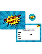 12 x Comic Superhero Style Birthday Party Invitations with Red, Yellow & Blue Envelopes + Matching Stickers (Invitations + Coloured Envelopes & Stickers)