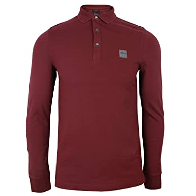 BOSS - Polo - Manga Larga - para Hombre Rojo Granate XXX-Large ...