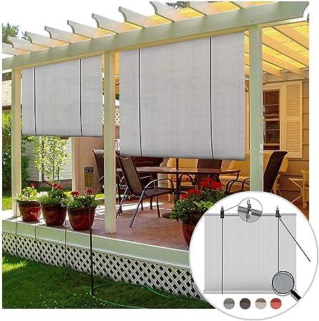 PENGFEI Exterior Estor Persianas Enrollables, Pantalla De Privacidad para Cubierta Kiosko Patio Patio Interior Sombrilla Al Aire Libre, Gris (Size : 90X200CM): Amazon.es: Hogar