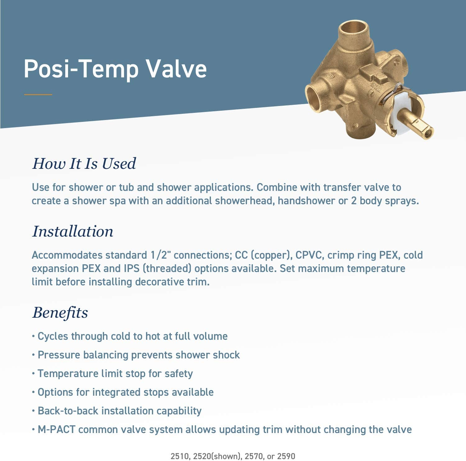 Brass Rough-In Posi-Temp Pressure-Balancing Cycling Tub and Shower Valve 1//2 i