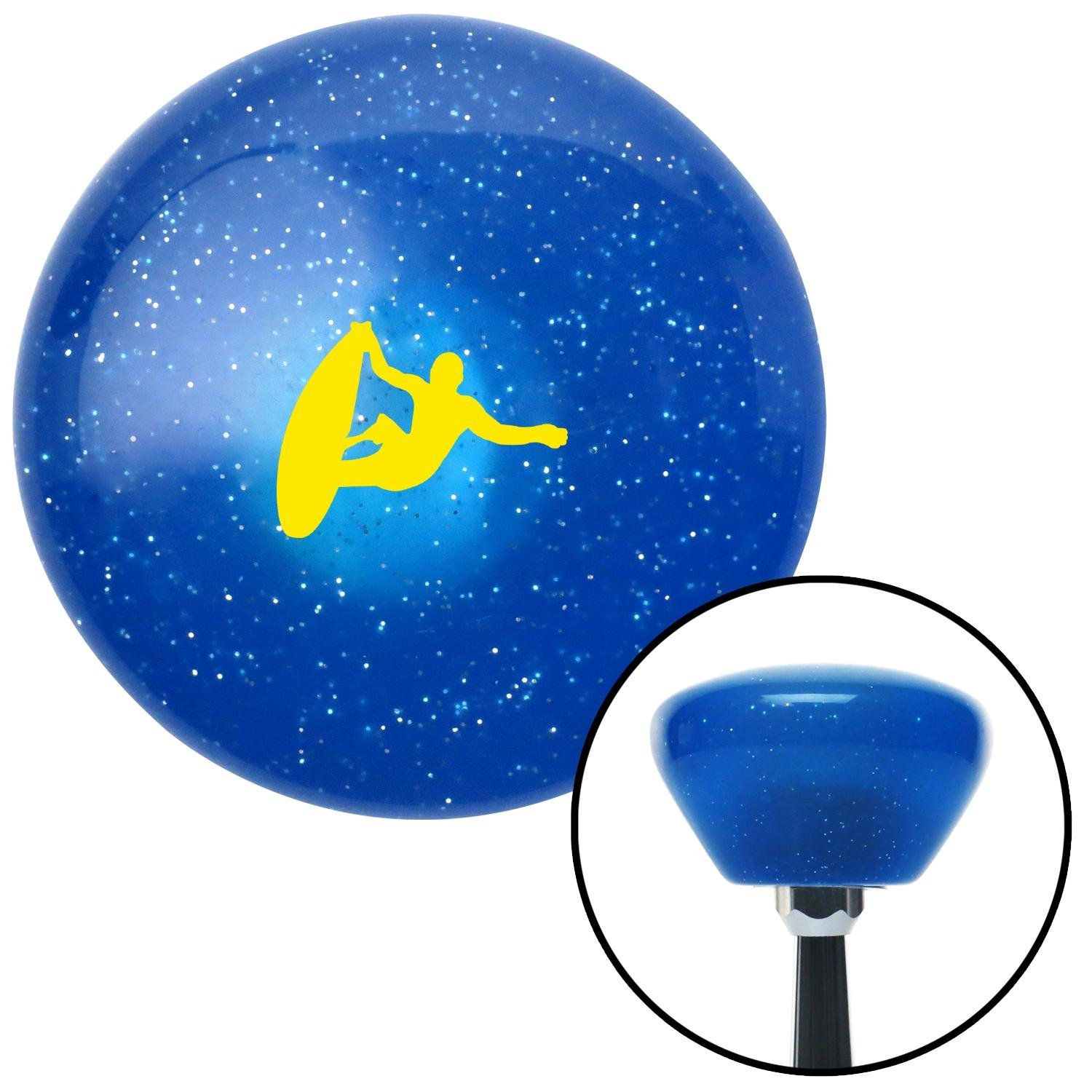 American Shifter 289299 Shift Knob Yellow Surfer Catching A Wave Blue Retro Metal Flake with M16 x 1.5 Insert