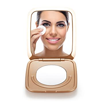 Amazon Com Omiro Lighted Travel Makeup Mirror 3 Inch 1x 5x Magnification Small Folding Compact Mirror With Innovative Smile Touch Brightness Control And Portable Charger Function Beauty