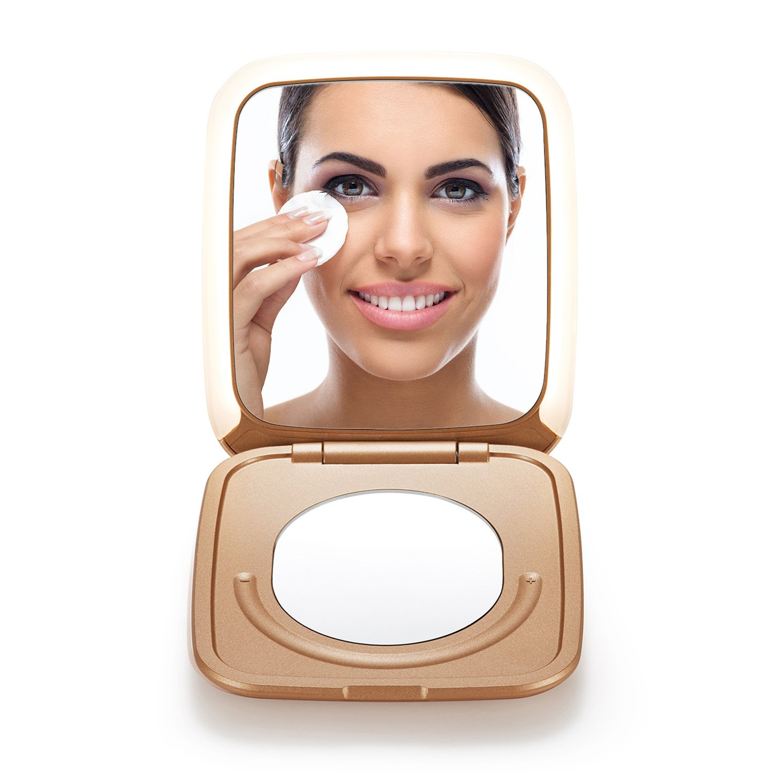 OMIRO LIGHTED TRAVEL MAKEUP MIRROR, 3½ Inch 1X/5X Magnification, Small Folding Compact Mirror with Innovative Smile Touch Brightness Control and Portable Charger Function