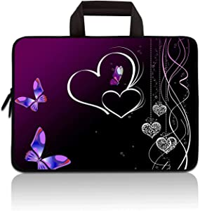 RUYIDAY 11 11.6 12 12.1 12.5 inch Laptop Carrying Bag Chromebook Case Notebook Ultrabook Bag Tablet Cover Neoprene Sleeve Fit Apple MacBook Air Samsung Acer HP DELL Lenovo Asus(Purple Butterfly)