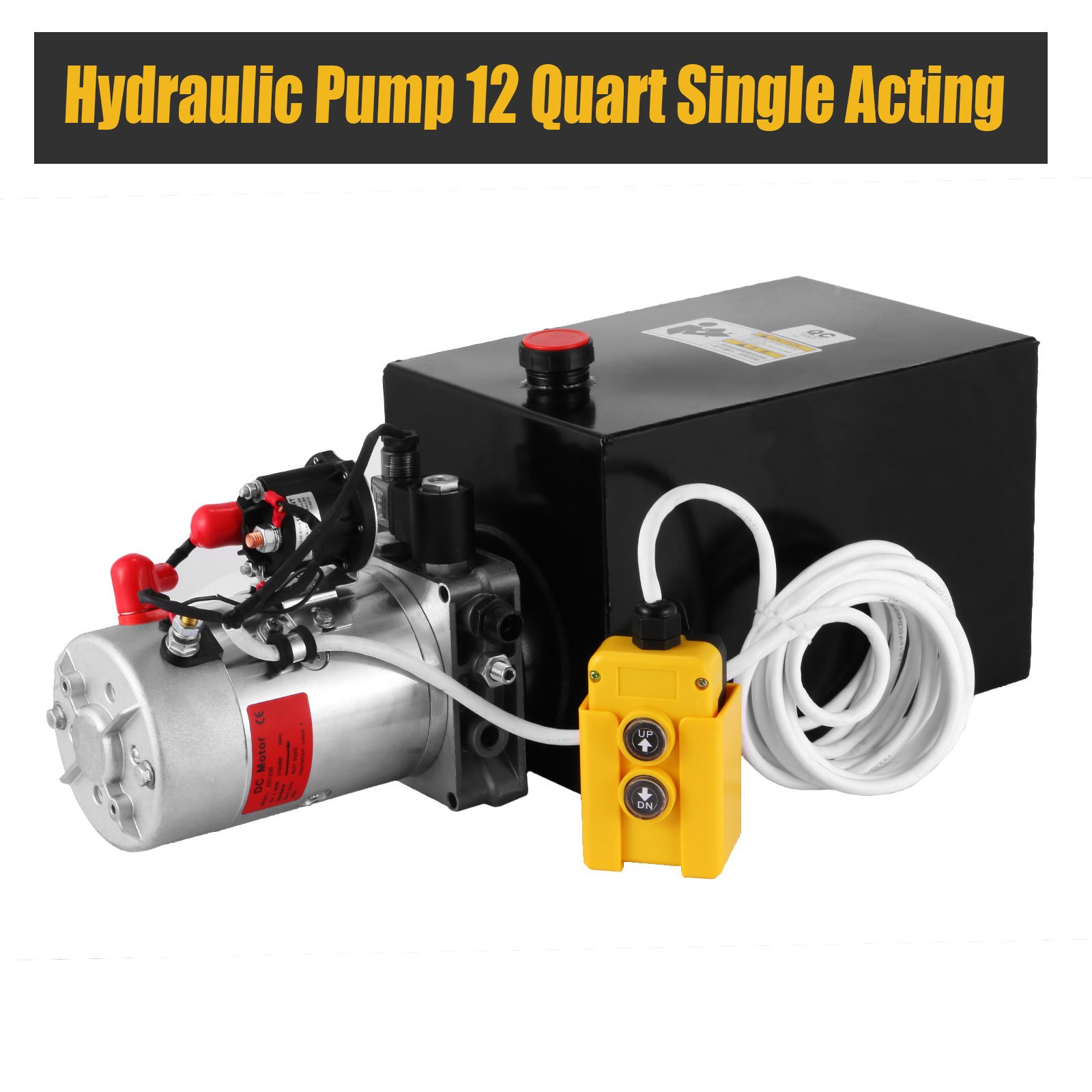 Happybuy Hydraulic Pump 12 Quart Single Acting Hydraulic Power Unit 12V DC Metal Tank Hydraulic Pump Unit for Dump Trailers Remotely Controlled