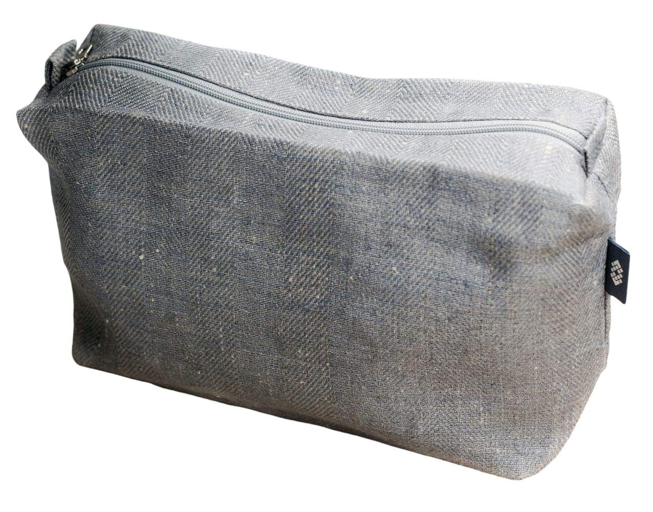 Large Canvas Toiletry Bag Gray - 100% Linen Travel Sack, ThingStore