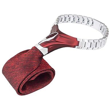BARBATTIE Corbata de diseño, color rojo y plateado, patrón ...