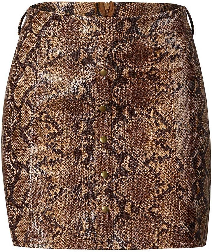 CLOOM Faldas De Tubo Cuero Leopardo Serpentina ImpresióN Cuero De ...