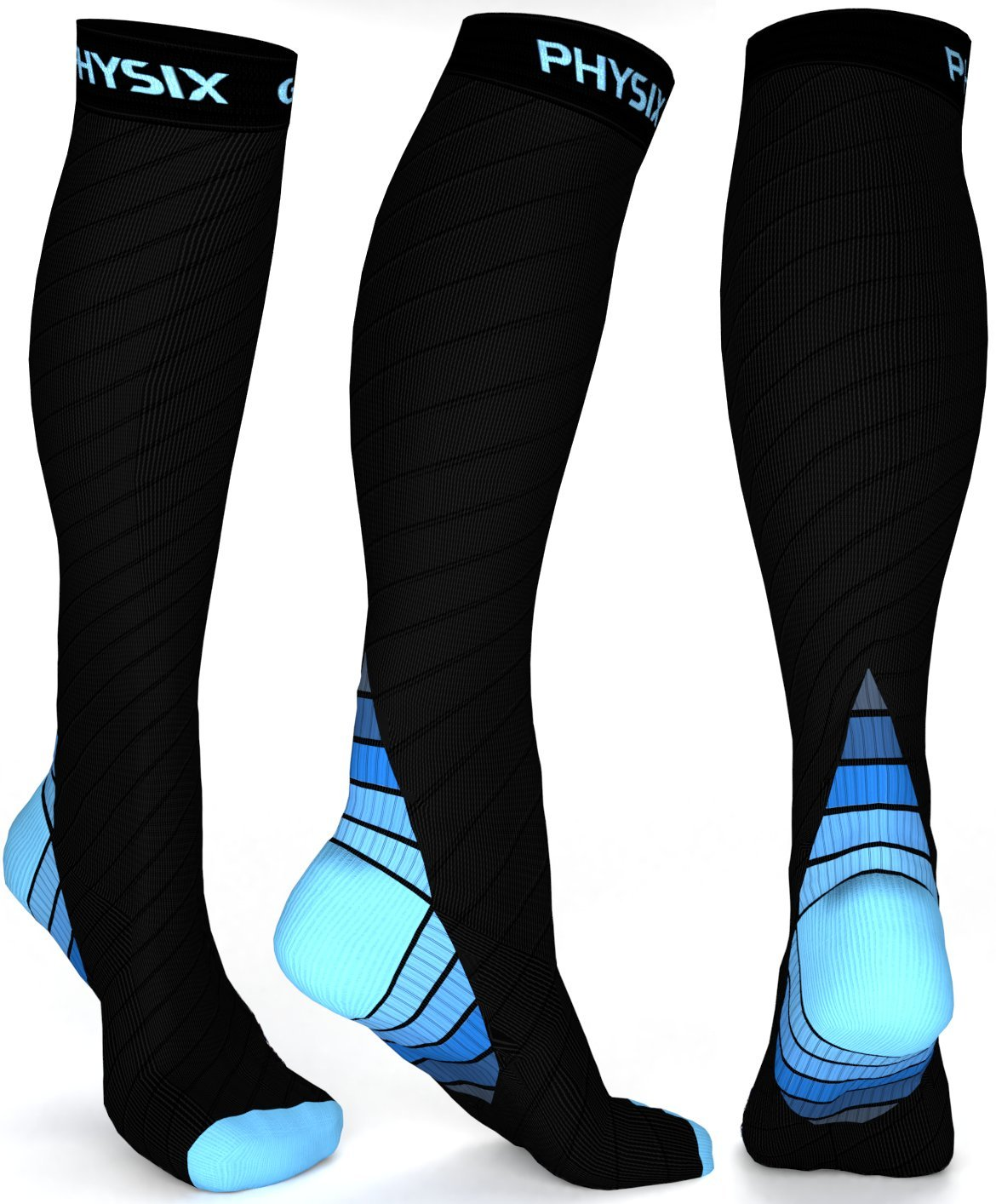Physix Gear Compression Socks for Men & Women (20 - 30 mmhg) Best Graduated Athletic Fit for Running, Nurses, Shin Splints, Flight Travel & Maternity Pregnancy - Boost Stamina, Circulation & Recovery