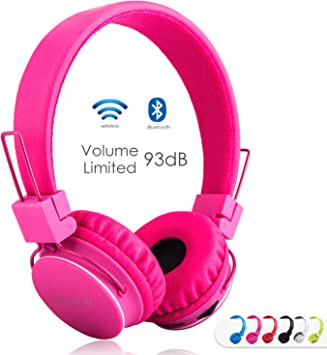 Amazon Com Kids Bluetooth Headphones Foldable Volume Limiting Wireless Wired Stereo On Ear Hd Headset With Sd Card Fm Radio In Line Volume Control Microphone For Children Adults Pink Electronics