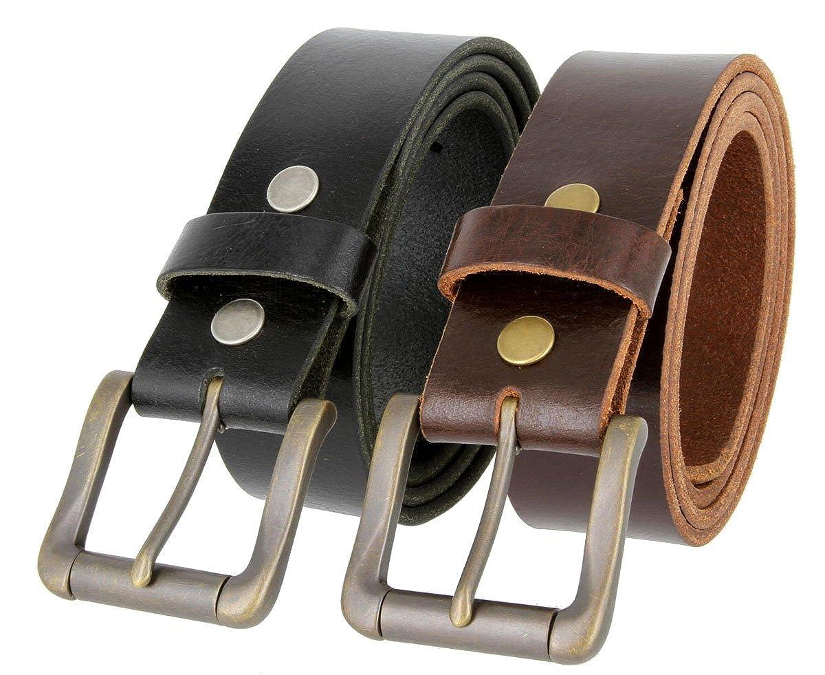 Mens Casual Full Grain One Piece Genuine Buffalo Leather Jean Belt In Brown Or Black
