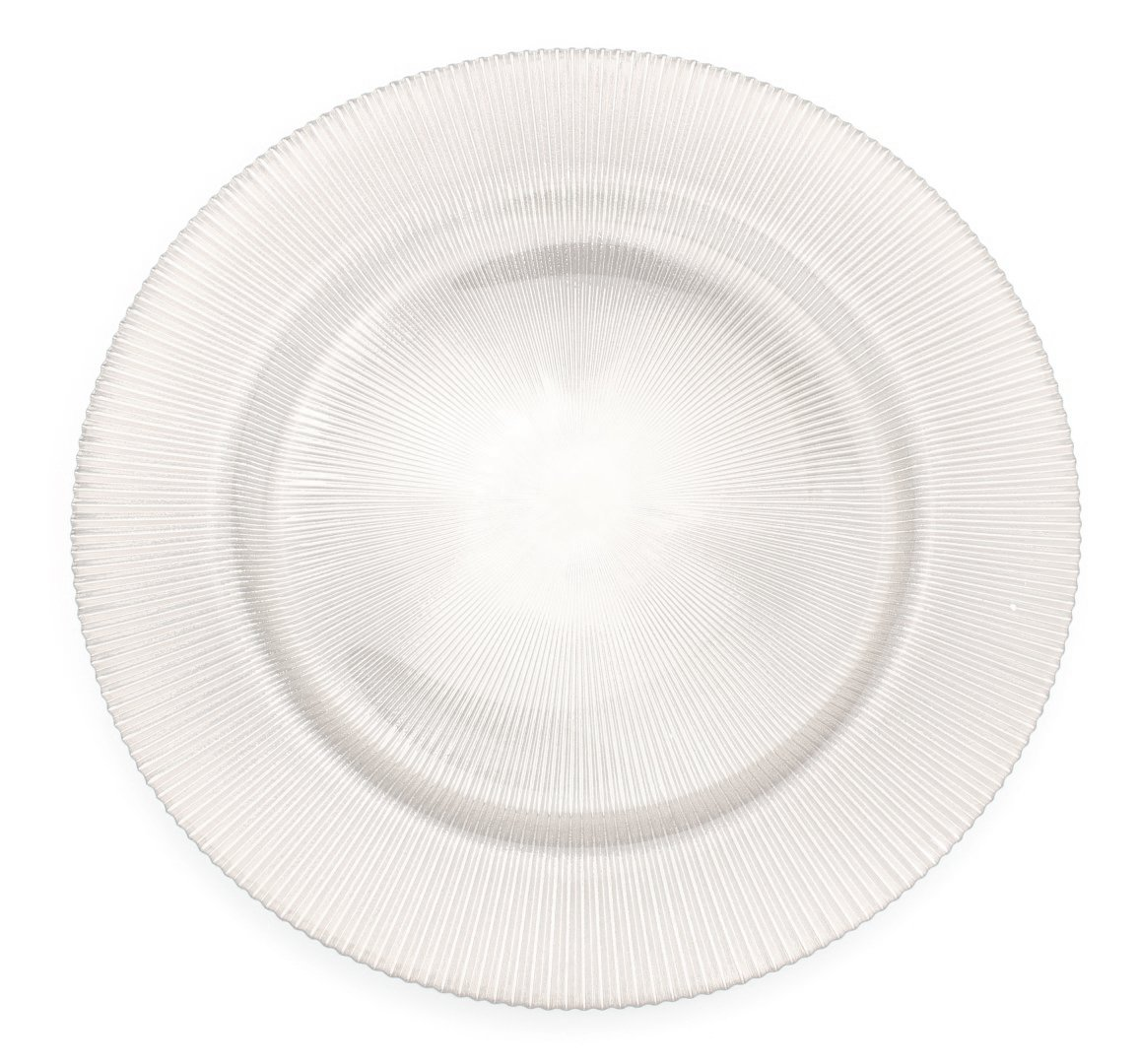 Glass Charger 13 Inch Dinner Plate With Etched Design and Metallic Tones - Set of 4 - Pearl