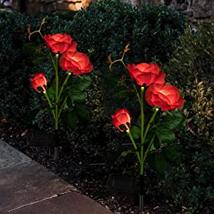 Solar Yard Decorations Lights Solar Rose Flower Lights with 6 Rose Flowers Solar Garden Stake Lights for Garden Patio Yard Pathway Decoration(2 Pack Red)